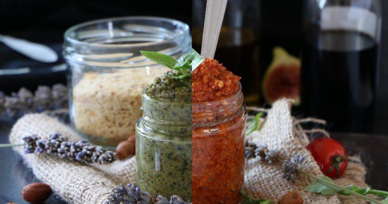 Pesto au basilic et pesto rosso (vegan)