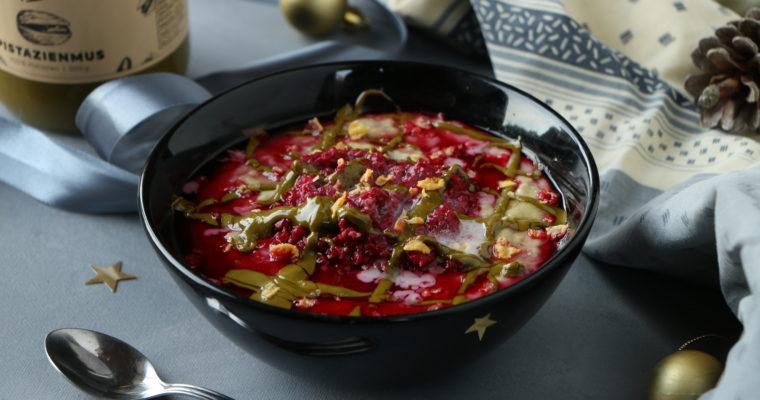 Porridge festif pistache – framboise