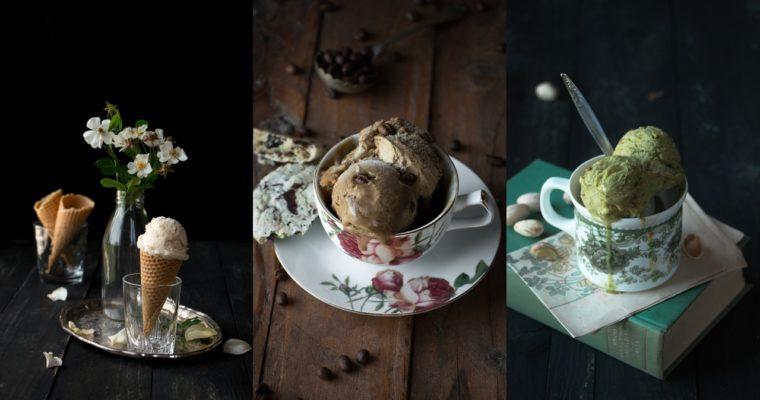 Crème glacée parfum vanille, café ou pistache (vegan)